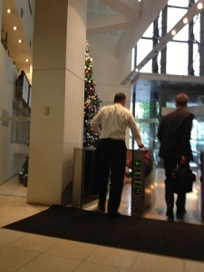 Abbott sprung entering Newslimited building.