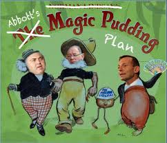 "I would like to give credit to Patriciawa's grandsons Daniel and Jacob, who did an amazing job of photoshoping this picture for her fine poem ""Tony Abbott defends his magic pudding budget plan"" http://polliepomes.wordpress.com/2012/04/18/tony-abbott-defends-his-magic-pudding-budget-plan/"
